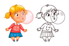 Funny girl inflates a bubble of gum. Funny cartoon character. Vector illustration. Coloring book.  on white background Stock Photos