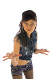 Funny girl in jeans shirt Royalty Free Stock Photo