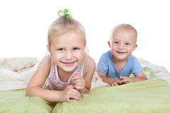 Funny girl with little brother Stock Photo