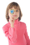 Funny girl with a lollipop Stock Image
