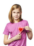 Funny girl with lollipop hearts Royalty Free Stock Image