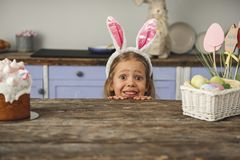 Funny girl looking forward for holiday royalty free stock photography