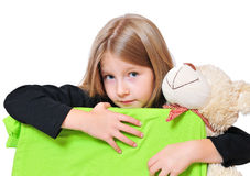 Funny girl looking Teddy Stock Image