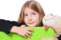 Funny girl looking Teddy Royalty Free Stock Image