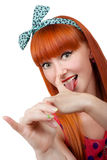 Funny girl makes faces Stock Photos