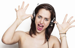 Funny girl making a prank. Beautiful funny girl making a prank Royalty Free Stock Photo