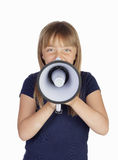 Funny girl with a megaphone Stock Image