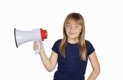 Funny girl with a megaphone Stock Photo