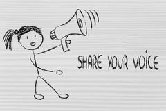 Funny girl with megaphone: share your voice Royalty Free Stock Photos