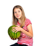 Funny girl  melon fruit Stock Photo