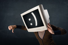 Funny girl with a monitor box on her head and a smiley face Stock Images