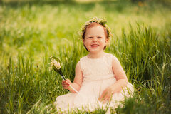Funny girl outdoors, child smiling Royalty Free Stock Image