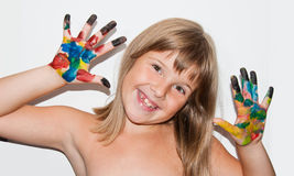 Funny girl painted. Funny teen girl with painted fingers Stock Photos