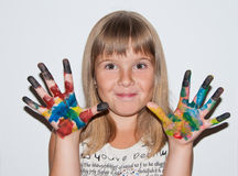 Funny girl painted. Funny teen girl with painted fingers Stock Photo