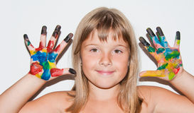 Funny girl painted. Teen girl portrait with painted fingers Royalty Free Stock Photography