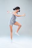 Funny girl in pajamas walks forward Royalty Free Stock Photography