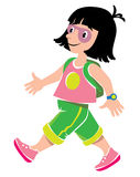 Funny girl passenger with backpack. Vector illustration of  funny fast paced girl passenger with backpack in shorts and sneakers Stock Images