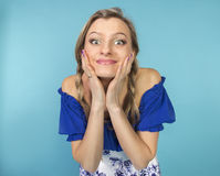 Funny girl with pigtails Royalty Free Stock Image