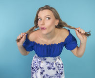 Funny girl with pigtails Royalty Free Stock Photography