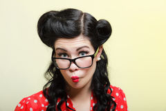 Funny girl pin-up make-up and hairstyle Royalty Free Stock Photos