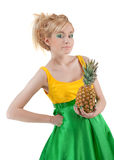 Funny girl with pineapple Royalty Free Stock Images