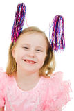 Funny girl in a pink dress with antennae Stock Image