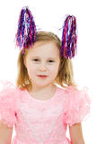 Funny girl in a pink dress with antennae Stock Photos