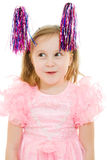 Funny girl in a pink dress with antennae Stock Images