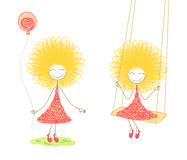 Funny girl in pink dress. Two scenes with funny girl in pink dress with balloon in her hands and on swing, on white background Royalty Free Stock Photography