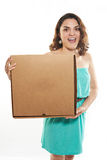 Funny girl with pizza Royalty Free Stock Photography