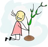 Funny girl is planting a tree. On a cloud Stock Illustration
