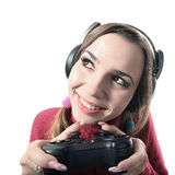 Funny girl play videogame Royalty Free Stock Photography