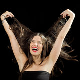 Funny Girl Playing With Her Hair stock image