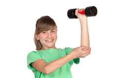 Funny girl playing sports with weights Stock Photos