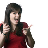 Funny girl pointing Stock Photo