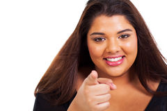 Funny girl pointing Royalty Free Stock Photo