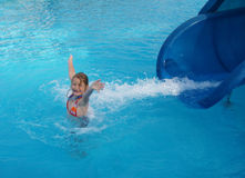 funny girl in pool Stock Photos