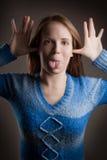 Funny girl portrait stock photography