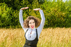 Funny girl  posing on nature Royalty Free Stock Photos