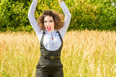 Funny girl  posing on nature Royalty Free Stock Photo