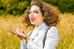 Funny girl  posing on nature Stock Images