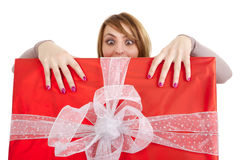 Funny girl with present stock photos