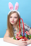 Girl with rabbit ears Royalty Free Stock Image