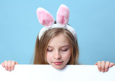 Girl with rabbit ears Royalty Free Stock Images