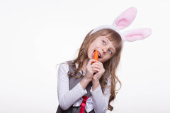 Funny girl with rabbit ears Stock Photography