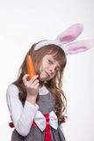 Funny girl with rabbit ears Stock Image