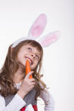 Funny girl with rabbit ears Stock Images