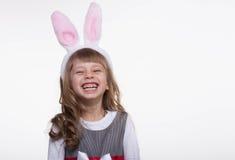 Funny girl with rabbit ears Stock Photos