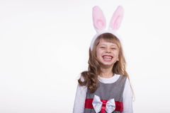 Funny girl with rabbit ears Royalty Free Stock Photography
