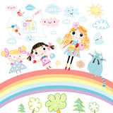Funny girl on the rainbow. Funny girls in bright rainbow against the backdrop of the clouds and the school Royalty Free Stock Photo